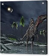 Spinosaurus Witnessing A Lunar Impact Acrylic Print by Walter Myers