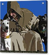 St. Francis With Two Greyhounds Acrylic Print by Kris Hackleman