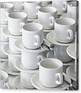 Stacks Of Cups And Saucers Acrylic Print by Tobias Titz