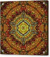 Stained Glass Gas Ring Mandala Acrylic Print by Richard H Jones