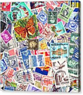 Stamp Collection . 2 To 1 Proportion Acrylic Print by Wingsdomain Art and Photography
