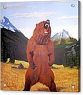 Standing Grizzly  Acrylic Print by Mickael Bruce