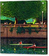 Stanley Park Scullers Poster Acrylic Print by Neil Woodward