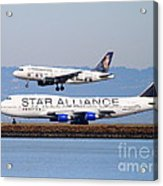 Star Alliance Airlines And Frontier Airlines Jet Airplanes At San Francisco International Airport Acrylic Print by Wingsdomain Art and Photography