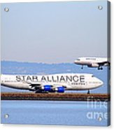 Star Alliance Airlines And United Airlines Jet Airplanes At San Francisco International Airport Sfo  Acrylic Print by Wingsdomain Art and Photography