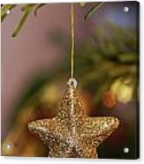 Star And Garland On Christmas Tree Acrylic Print by Sami Sarkis