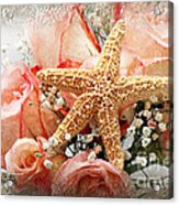 Starfish And Pink Roses Acrylic Print by Andee Design