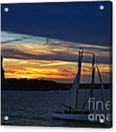 Statue Of Liberty At Sunset Acrylic Print by Nishanth Gopinathan