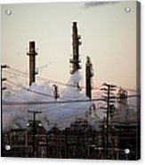 Steam Plumes At Oil Refinery Acrylic Print by Hal Bergman