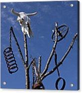 Steer Skull In Tree Acrylic Print by Garry Gay