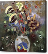 Still Life Of A Vase Of Flowers Acrylic Print by Odilon Redon