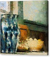Still Life With Blue Jug Acrylic Print by Lois Bryan