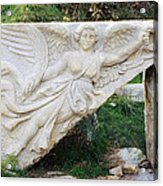 Stone Carving Of Nike Acrylic Print by Mark Greenberg
