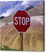 Stop Sign In South Dakota Badlands Acrylic Print by Will & Deni McIntyre