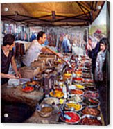 Storefront - The Open Air Tea And Spice Market  Acrylic Print by Mike Savad