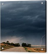 Storm Clouds And Lightning Along A Saskatchewan Country Road Acrylic Print by Mark Duffy