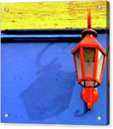 Streetlamp With Primary Colors Acrylic Print by by Felicitas Molina