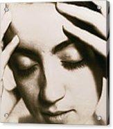 Stressed Woman Acrylic Print by Cristina Pedrazzini