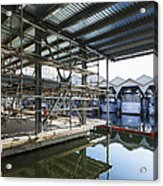 Structural Steel Construction Creating Acrylic Print by Don Mason