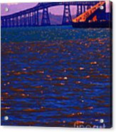 Sun Setting Beyond The Richmond-san Rafael Bridge - California - 5d18435 Acrylic Print by Wingsdomain Art and Photography