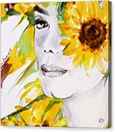 Sunflower Close-up Acrylic Print by Hitomi Osanai