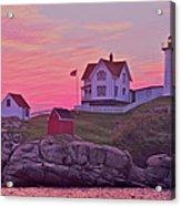 Sunrise Nubble Lighthouse Acrylic Print by Dale J Martin