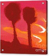 Sunset Abstract Trees Acrylic Print by Pixel Chimp