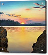Sunset Between The Rocky Shore Acrylic Print by Steven Llorca