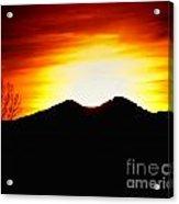 Sunset Over Longs Peak Acrylic Print by Harry Strharsky