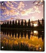 Sunset Reflection In A Park Pond Acrylic Print by Craig Tuttle