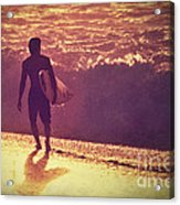Surfer At Sunset Acrylic Print by Paul Topp