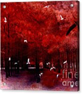 Surreal Fantasy Red Woodlands With Birds Seagull Acrylic Print by Kathy Fornal