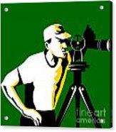 Surveyor Geodetic Engineer Survey Retro Acrylic Print by Aloysius Patrimonio