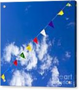 Suspended Festive Flags. Acrylic Print by Bernard Jaubert