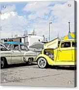 Swap Meet Plymouth And Chevy  Acrylic Print by Steve McKinzie