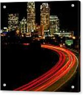 Taillights Toward Charlotte Skyline Acrylic Print by Patrick Schneider