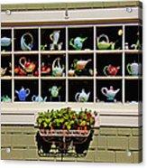 Tea Pots In Window Acrylic Print by Garry Gay