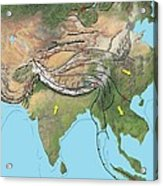 Tectonic Map Of Asia Acrylic Print by Gary Hincks