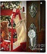 Teddy Waiting For Christmas Time Acrylic Print by Sandra Cunningham