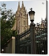Temple Square Grounds Acrylic Print by Bruce Bley