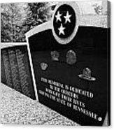 tennessee state police officer memorial war memorial plaza Nashville Tennessee USA Acrylic Print by Joe Fox