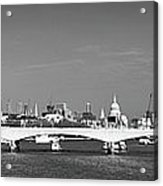 Thames Panorama Weather Front Clearing Bw Acrylic Print by Gary Eason