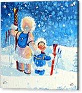 The Aerial Skier - 4 Acrylic Print by Hanne Lore Koehler