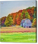 The Barn In Autumn Acrylic Print by Michael Garyet
