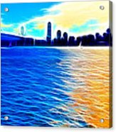 The Bay Bridge And The San Francisco Skyline . Panorama Acrylic Print by Wingsdomain Art and Photography