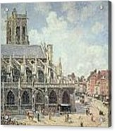 The Church Of Saint Jacques In Dieppe Acrylic Print by Camille Pissarro