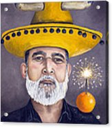 The Competitive Sombrero Couple 2 Acrylic Print by Leah Saulnier The Painting Maniac