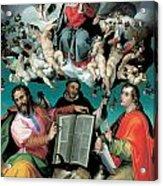 The Coronation Of The Virgin With Saints Luke Dominic And John The Evangelist Acrylic Print by Bartolomeo Passarotti