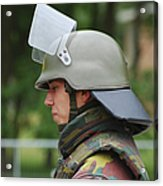 The Helmet And Visor Used Acrylic Print by Luc De Jaeger