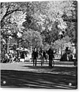 The Mall At Central Park In Black And White Acrylic Print by Rob Hans